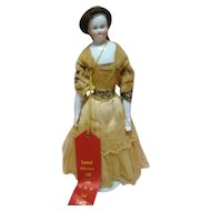11 In. Original 1850's Bald Head China Shoulder Head Doll ( Biedermeier ), Cloth Body and China Arms and Legs, Human Hair Wig, 2nd Place Ribbon Winner