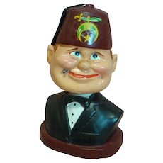"5-1/4"" a Comical Character Composition Bobbing Head, Bobble Head Shriner with Cigarette, Made in Japan"
