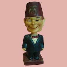 """Vintage Composition Full Figure Character Shriner with Bobble Head and a Goofy Big Smile, Stamped """"Japan"""""""