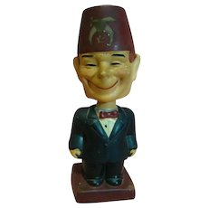 "Vintage Composition Full Figure Character Shriner with Bobble Head and a Goofy Big Smile, Stamped ""Japan"""