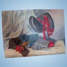 16 x 11-3/4 In. Oil Painting on Canvas Board of Miscellaneous Antique Doll Accessories, Great for Display in a Collector's Doll Room