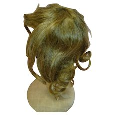 "Brown Human Hair Wig for a Doll with Approximately 9-10 in. Head Circumference; Stamped ""9"" inside on Non-Stretch Scalp"