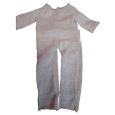 "Vintage Cotton One-Piece Long Underwear or ""Long Johns"" with Button Back End for Male Doll Approximately 21-22 Inches"