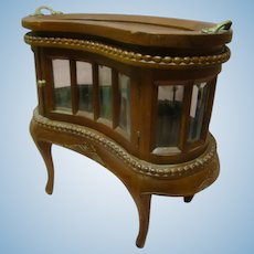 15 In. Tall Antique Salesman Sample Dessert or Pastry Server with Beveled and Curved Glass, Intricate Carving, Great for Display with Large Dolls