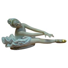 Fabulous Porcelain Ballerina in Graceful Position, Gold Luster Ballet Shoes and Tiara