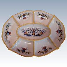Beautiful Large Vintage Seven Division Ceramic Serving Dish / Tray / Platter Made in Italy,  Hand Painted and Decal