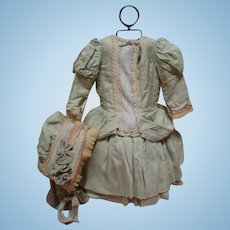 Outstanding Dress and Bonnet for a 23-24 In. Antique French Bebe or German Child Doll