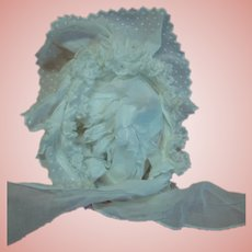 Exquisite Antique White Dotted Swiss Bonnet for Large Doll, Long Ties for Bow, Soft Wire Frame