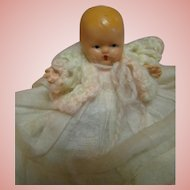 """Original Nancy Ann Storybook NASB Bisque Baby with Star Hands, """" Hush-Bye Baby """" with Molded Front Curls, Pink Gown, Sweater, 1939-1942"""