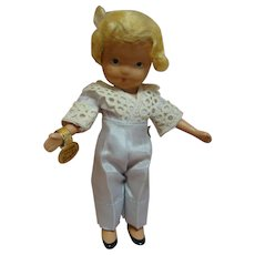 5-1/2 In. NASB Nancy Ann Storybook Doll #115 Boy Blue, 1943-47, Gold Wrist Tag, Pale Blue Taffeta Pants / Shirt, Excellent Condition