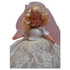 6-1/2 In. Bisque NASB Nancy Ann Storybook Doll Bride, Jointed Legs, Jointed Neck, Original, 1941-42