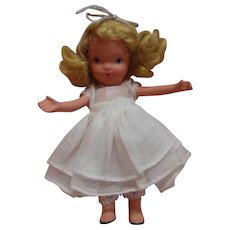 "5 In. NASB Nancy Ann Storybook Doll "" Eva "" Original, Jointed Legs, White Organdy Dress, Crisp in Never-Played-With Condition"
