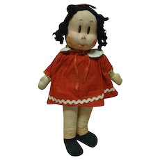 14.5 In. Cloth Little Lulu Comic Strip Character Doll, Masked Face, Original, Loved and in Lightly Played With Condition