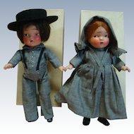 "Pair of Original 1936 Composition MIB Pennsylvania Dutch Dolls, "" Amish "" Boy and Girl, Crispy Condition Estate Dolls"