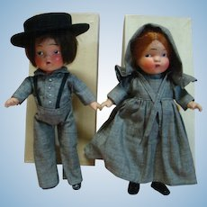 "Pair of Original 1936 Composition MIB Pennsylvania Dutch Dolls, "" Amish "" Boy and Girl, Crispy Condition Estate Dolls"