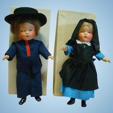 "Pair of Original 1936 Composition MIB Pennsylvania Dutch Dolls, "" River Brethern "" Boy and Girl, Crispy Condition Estate Dolls"