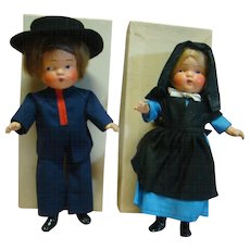 "Pair of Original 1936 Composition MIB Pennsylvania Dutch Dolls, "" River Brethern "" Boy and Girl, Crispy Condition Estate Dolls"
