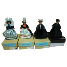 Set of Four (4) Le Minor Mint in Box Original French Hard Plastic 5 Inch Dolls in Costumes Representing Communes in France