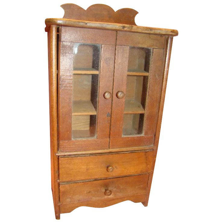 Antique Walnut Doll China or Linen Cabinet - Antique Walnut Doll China Or Linen Cabinet : A Touch Of Class