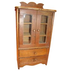 Antique Walnut Doll China or Linen Cabinet