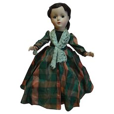 """14 In. Hard Plastic """" Marme """" Madame Alexander Little Women Series, 1950's All Original, Mint Condition with Hang Tag and Tagged Dress"""