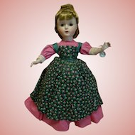 "14 In. Hard Plastic "" Meg "" Madame Alexander Little Women Series, 1950's All Original, Mint Condition with Hang Tag and Tagged Dress"