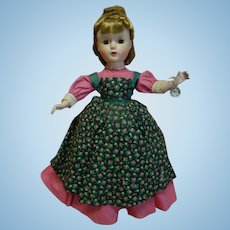 """14 In. Hard Plastic """" Meg """" Madame Alexander Little Women Series, 1950's All Original, Mint Condition with Hang Tag and Tagged Dress"""
