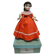 "14 In. Hard Plastic "" Jo "" Madame Alexander Little Women Series, 1950's All Original, Mint in Box and Tagged Dress"