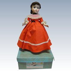"""14 In. Hard Plastic """" Jo """" Madame Alexander Little Women Series, 1950's All Original, Mint in Box and Tagged Dress"""