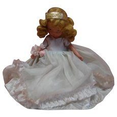 Nancy Ann Storybook Bridesmaid Doll in Blue, 5 In. Bisque, Crisp Clothing, Original and Complete, Estate Collection, Jointed Arms