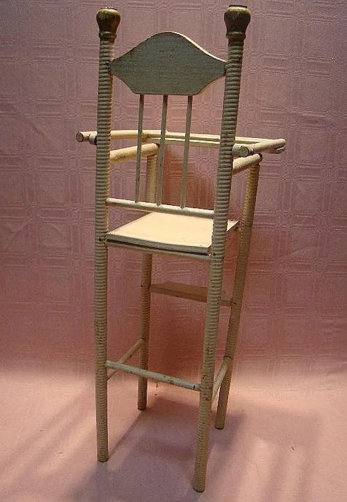 Antique Wooden High Chair for 12-15 Inch Doll, Spiral Design, Original Paint - Antique Wooden High Chair For 12-15 Inch Doll, Spiral Design