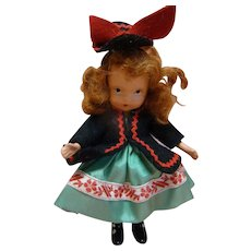 Adorable Red Mohair Nancy Ann Storybook Doll, Crisp, Original, Black Boots, Jointed Arms, in Never-Played-With Condition