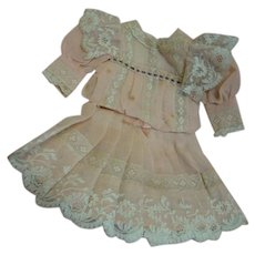 Vintage (Antique Fabrics, Trims) Pleated Lightweight Organdy and Lace Dress for 14-15 Inch German or French Antique Doll - Peach and Ecru!