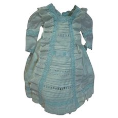 Vintage Dress (Antique Fabrics, Trims) of Various Types of Woven Cotton Creating the Most Beautiful Doll Dress with Baby Blue Cotton Eyelet Trim