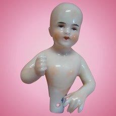 3 In. Bald Open Pate Glazed Porcelain Half Doll by Dressel and Kister, Germany, Blue DK Symbol on Base; Beautiful Model