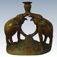 Beautifully Hand-carved Wooden Twin Elephant Unique Mid-Century Candle Holder