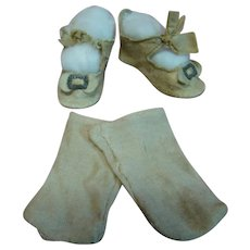 Pair of Ecru Antique Leather Doll Shoes with Short Heels and Original Cotton Socks, Great for a German Lady Doll