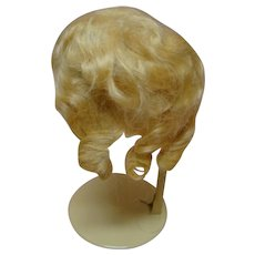 "Beautiful Blond Antique Factory Mohair Wig with Tag Inside Sz ""12,"" Clean with Original Curls and Side Part"
