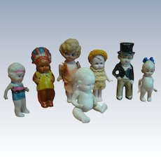 Lot of 7 Bisque Character Dolls, 1 Made in Germany, 6 Made in Japan, Cute Collection!