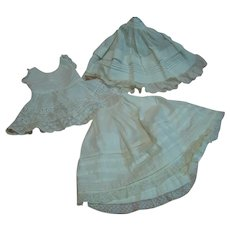 3 Pieces of Lovely Antique White Cotton Slips with Tucks, Gathers, Rows and Rows of Lace and Lace Trim for Your Beautiful Antique Dolls
