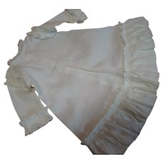 Antique Waled White Cotton A-Line Doll Frock with Gathered but Taylored Ruffle Sleeves at Hemline, Sleeves and Armholes.