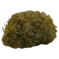 Old Short, Curly Mohair Skin Wig for Antique Character Boy or Baby Doll, Light Brown