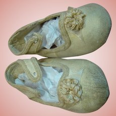 Sz 12 (Incised on Soles) Off-White Leather Antique Doll Shoes with Rosette, Braid Outlining in Tact, Missing Ties