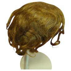 Original Set Antique Mohair Wig with Pate, Light Auburn, Center Part Fits 8-8-1/2 In. Head Circumference