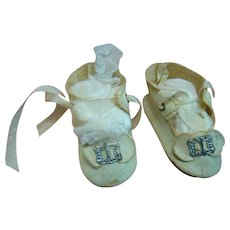 Nice Condition Antique Off-White Oilcloth Shoes with Original Bows and Silver Buckles Across Front and Original Silky White Ties
