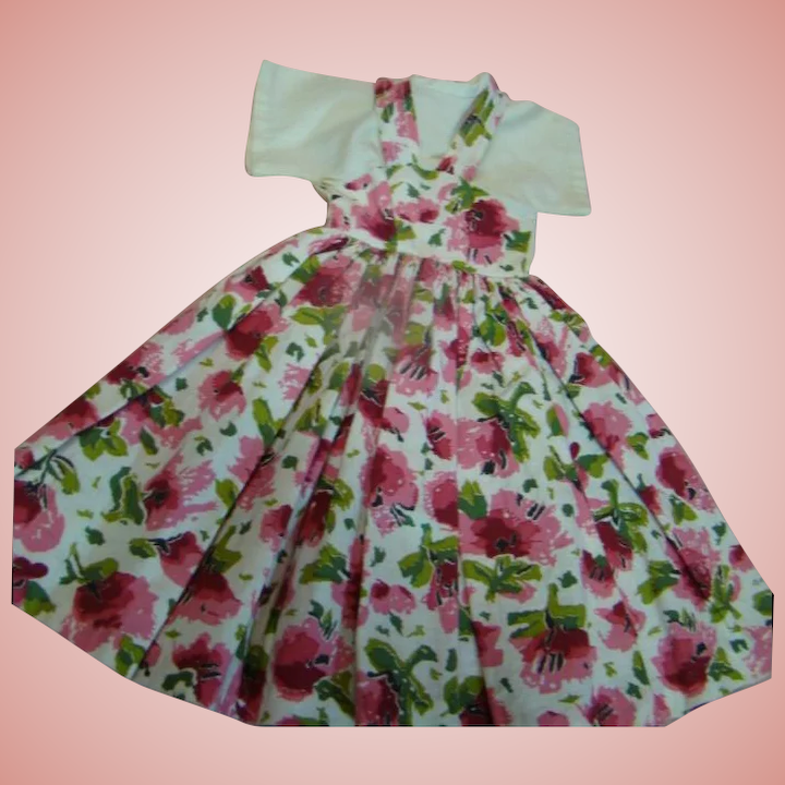 11bb43af17c Cute Vintage Floral Cotton One-Piece Dress for a Teen or Lady Doll : A  Touch of Class Antique Dolls | Ruby Lane