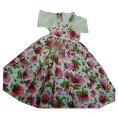 Cute Vintage Floral Cotton One-Piece Dress for a Teen or Lady Doll Approximately 14-16 in.; Circa:  1940-60's.