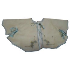 Vintage Ecru Wool Baby Doll Caplet with Blue Silk Ribbon Rosettes and Embroidered Front Trim; Soooo Sweet