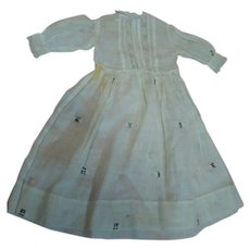Antique Lawn Fabric Dress for a 16-17 In. Doll, Lace Insertion, Tucks and Textured Woven Thread Designs in Fabric