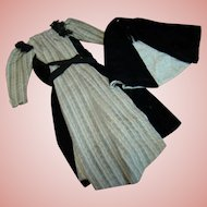 Beautiful Antique Hand Stitched Wool and Cotton Velvet Dress and Cape for Early Lady Dolls Such as Paper Mache, China or Parian